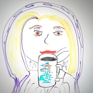 Backstage Pass features the first appearance of Rebecca Burton's nemesis Sparkle, as drawn by Chris Garrison and sipping from a Rebecca Mermaid Mug