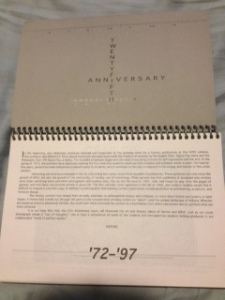 Best of genesis 25 year retrospective. Printed sidewise with a comb binding because Liberal Arts College Students.